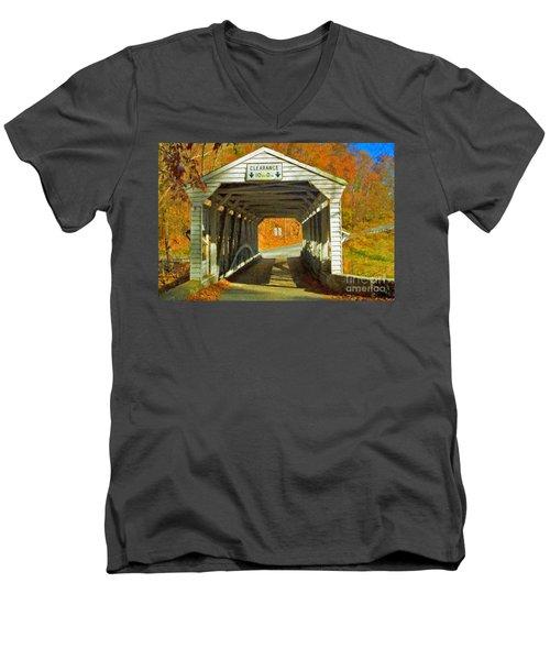 Men's V-Neck T-Shirt featuring the photograph Covered Bridge Impasto Oil by David Zanzinger