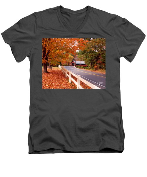 Covered Bridge In Brattleboro Vt Men's V-Neck T-Shirt