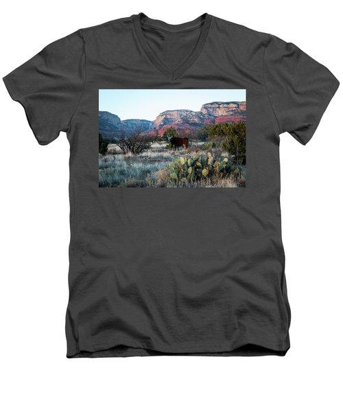 Cow At Red Rock Men's V-Neck T-Shirt