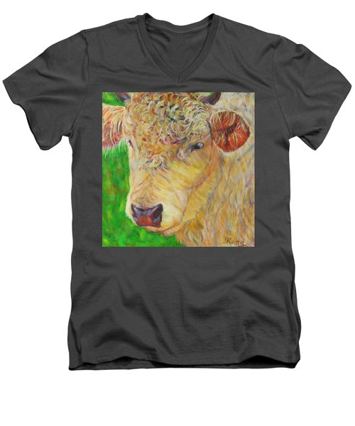 Cute And Curly Cow Men's V-Neck T-Shirt