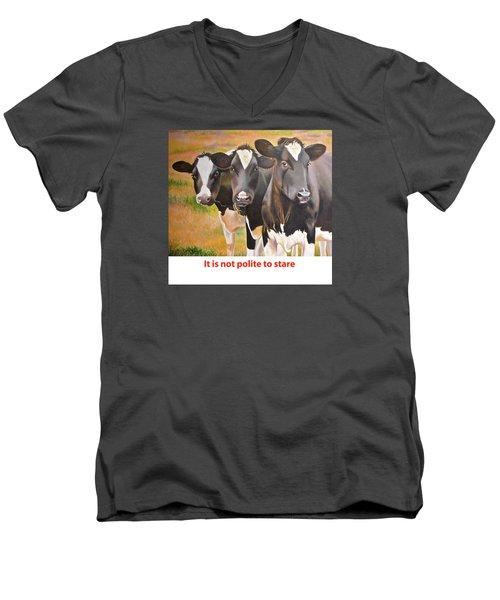 Cow Holstein Trio Men's V-Neck T-Shirt by K L Kingston