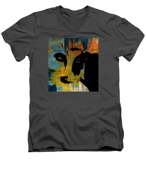 Cow Sunset Rainbow 2 - Poster Print Men's V-Neck T-Shirt