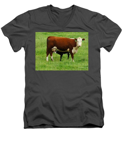 Men's V-Neck T-Shirt featuring the painting Cow With Calf by Debra Crank