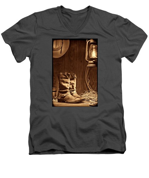 Cowboy Boots At The Ranch Men's V-Neck T-Shirt by American West Legend By Olivier Le Queinec
