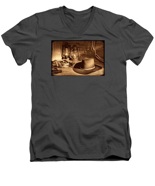 Cowboy Hat And Kerosene Lanterns Men's V-Neck T-Shirt by American West Legend By Olivier Le Queinec
