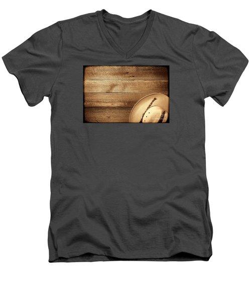 Cowboy Hat On Wood Table Men's V-Neck T-Shirt