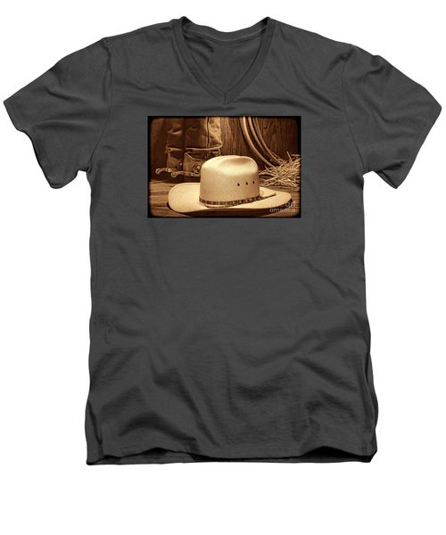 Cowboy Hat With Western Boots Men's V-Neck T-Shirt