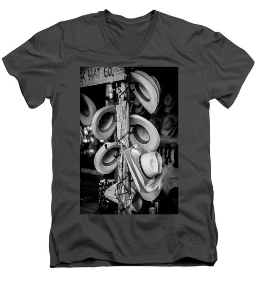 Men's V-Neck T-Shirt featuring the photograph Cowboy Hats At Snail Creek Hat Company by David Morefield