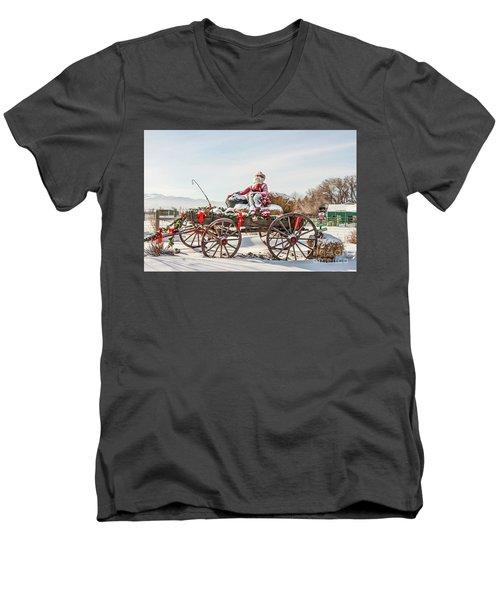 Cowboy Santa Taking A Quick Break Men's V-Neck T-Shirt