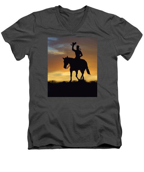 Cowboy Slilouette Men's V-Neck T-Shirt by Linda Phelps