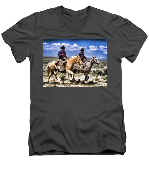 Cowboys On Horseback Riding The Range Men's V-Neck T-Shirt