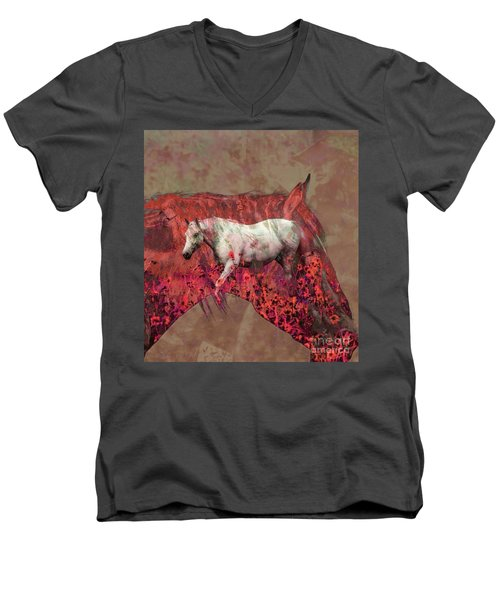 Cowgirl And Her Horses Men's V-Neck T-Shirt by Toma Caul