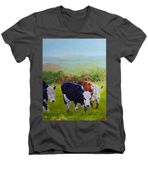 Cows And English Landscape Men's V-Neck T-Shirt