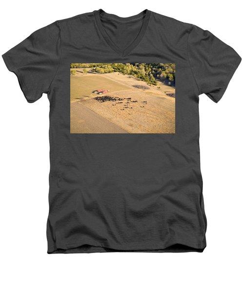 Cows And Trucks Men's V-Neck T-Shirt