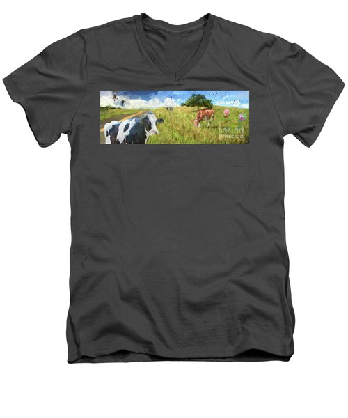 Cows In Field, Ver 1 Men's V-Neck T-Shirt