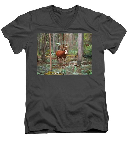 Men's V-Neck T-Shirt featuring the painting Cows In The Woods by Joshua Martin
