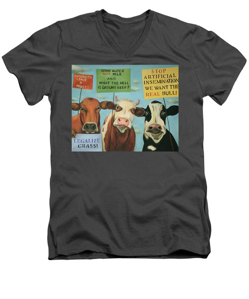 Men's V-Neck T-Shirt featuring the painting Cows On Strike by Leah Saulnier The Painting Maniac