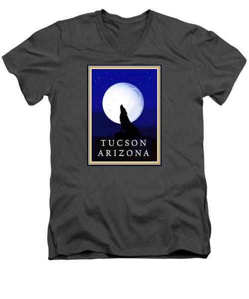 Men's V-Neck T-Shirt featuring the digital art Coyote Moon - Tucson, Arizona by Vagabond Folk Art - Virginia Vivier