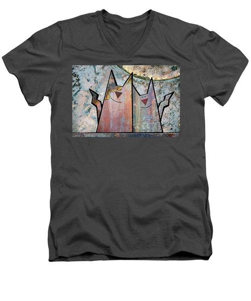 Cozy Men's V-Neck T-Shirt by Joan Ladendorf
