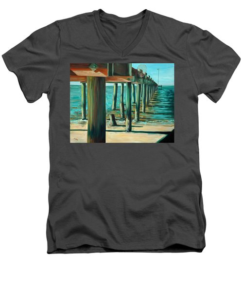 Men's V-Neck T-Shirt featuring the painting Crabbing At Low Tide by Suzanne McKee