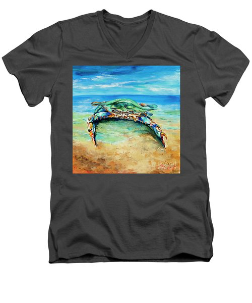 Men's V-Neck T-Shirt featuring the painting Crabby At The Beach by Dianne Parks