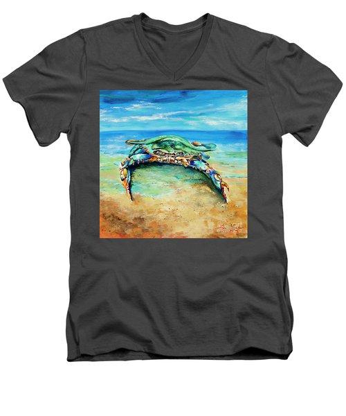 Crabby At The Beach Men's V-Neck T-Shirt