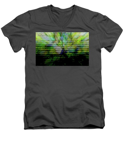 Cracked Abstract Green Men's V-Neck T-Shirt