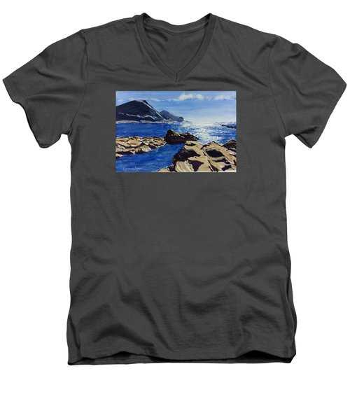 Men's V-Neck T-Shirt featuring the painting Crackington Haven Sparkle by Lawrence Dyer