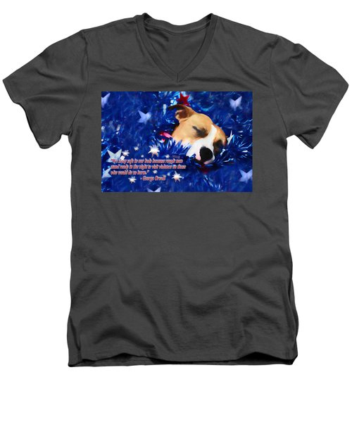 Men's V-Neck T-Shirt featuring the photograph Cradled By A Blanket Of Stars And Stripes - Quote by Shelley Neff