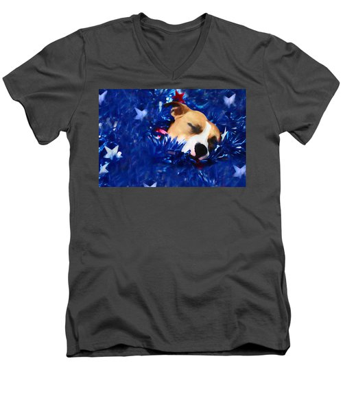 Men's V-Neck T-Shirt featuring the photograph Cradled By A Blanket Of Stars And Stripes by Shelley Neff