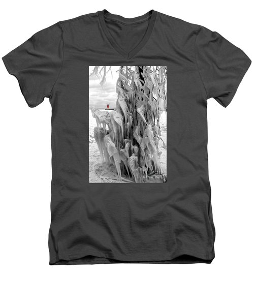 Men's V-Neck T-Shirt featuring the photograph Cradled In Ice - Menominee North Pier Lighthouse by Mark J Seefeldt
