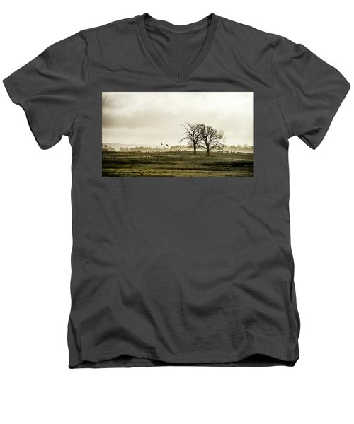 Men's V-Neck T-Shirt featuring the photograph Crane Hill by Torbjorn Swenelius