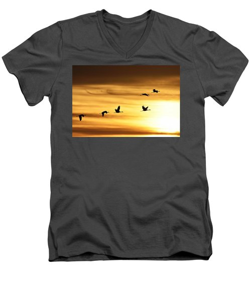 Men's V-Neck T-Shirt featuring the photograph Cranes At Sunrise 2 by Larry Ricker