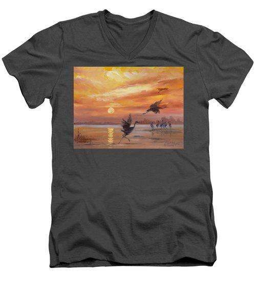 Cranes - Golden Sunset Men's V-Neck T-Shirt by Irek Szelag