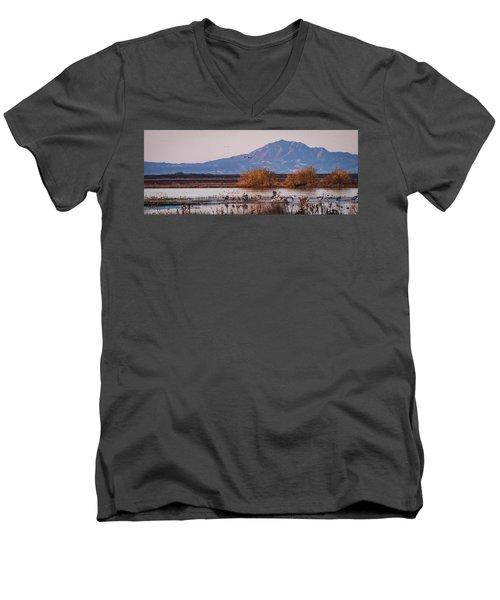 Cranes In The Morning Men's V-Neck T-Shirt