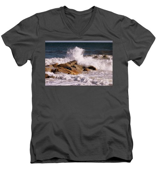 Men's V-Neck T-Shirt featuring the photograph Crashing Surf On Plum Island by Eunice Miller