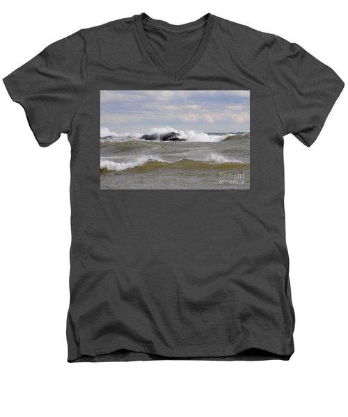 Crashing The Reef Men's V-Neck T-Shirt by Sandra Updyke