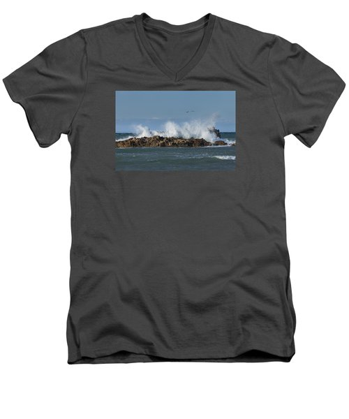 Crashing Waves And Gulls Men's V-Neck T-Shirt
