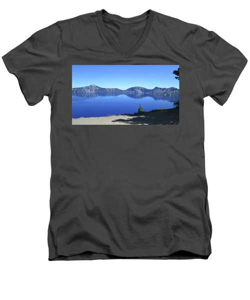 Men's V-Neck T-Shirt featuring the photograph Crater Lake by Tony Mathews