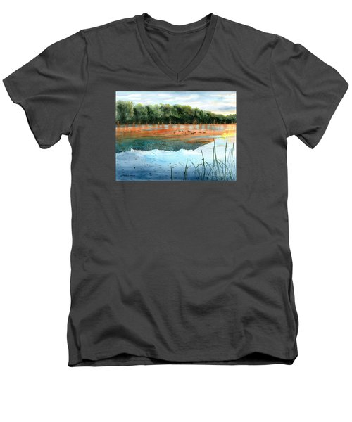 Men's V-Neck T-Shirt featuring the painting Crawford Lake Morning by LeAnne Sowa