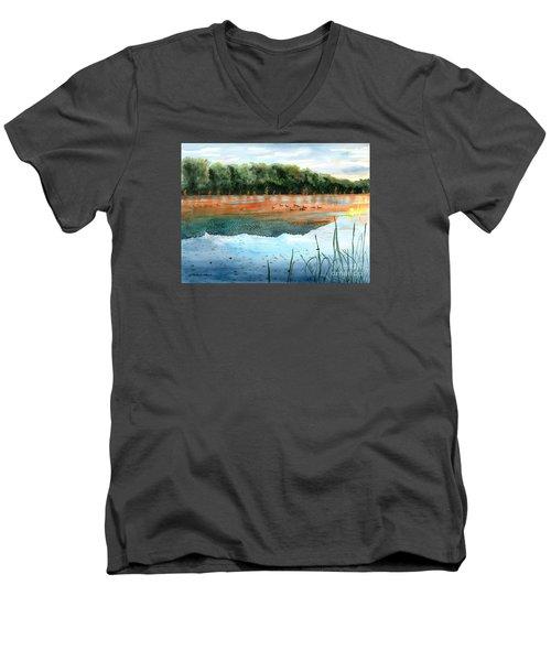Crawford Lake Morning Men's V-Neck T-Shirt by LeAnne Sowa