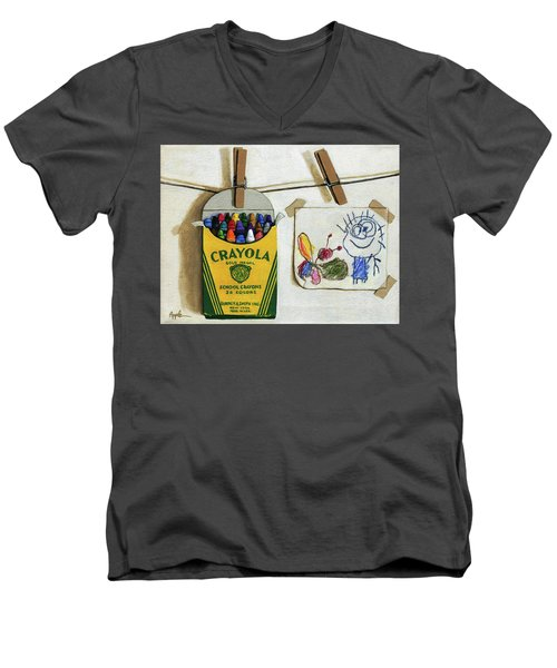 Box Of Crayons And Child's Drawing Realistic Still Life Painting Men's V-Neck T-Shirt