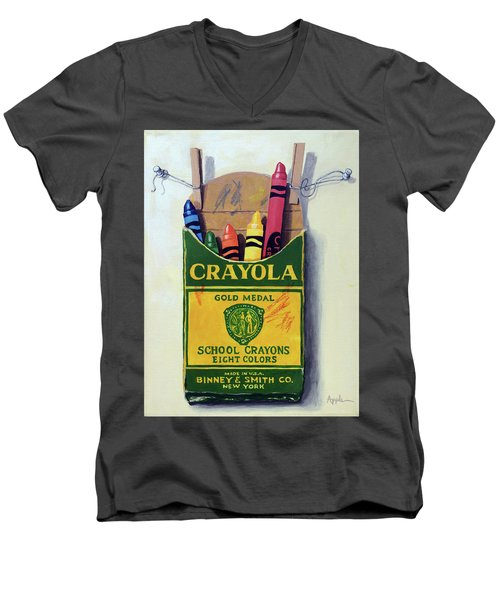 Crayola Crayons Painting Men's V-Neck T-Shirt by Linda Apple