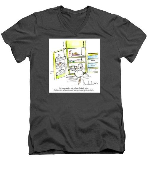 Crazy Cat Lady 0003 Men's V-Neck T-Shirt by Lou Belcher
