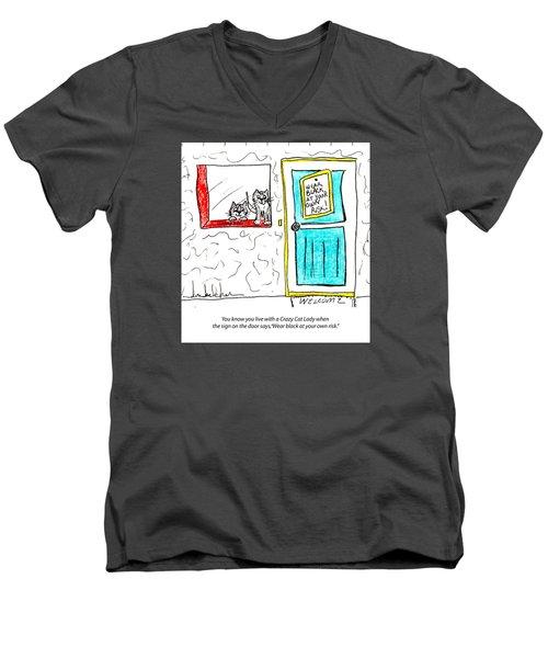 Crazy Cat Lady 0005 Men's V-Neck T-Shirt by Lou Belcher