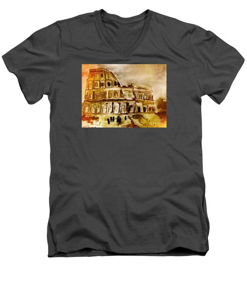 Men's V-Neck T-Shirt featuring the painting Crazy Colosseum by Denise Tomasura