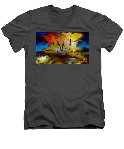Men's V-Neck T-Shirt featuring the painting Crazy Nature by Rushan Ruzaick
