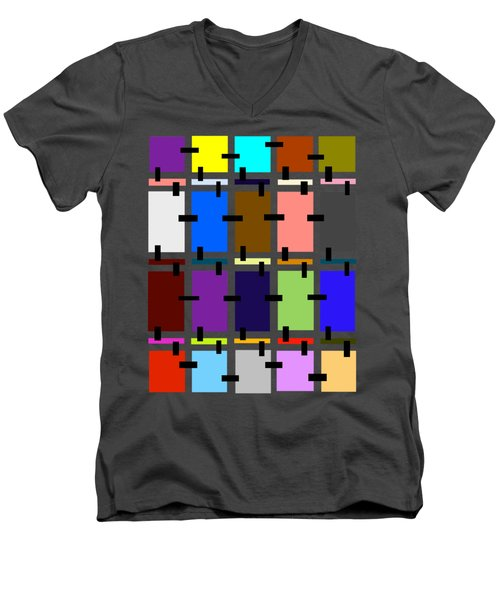 Crazy Quilt Men's V-Neck T-Shirt by Cathy Harper