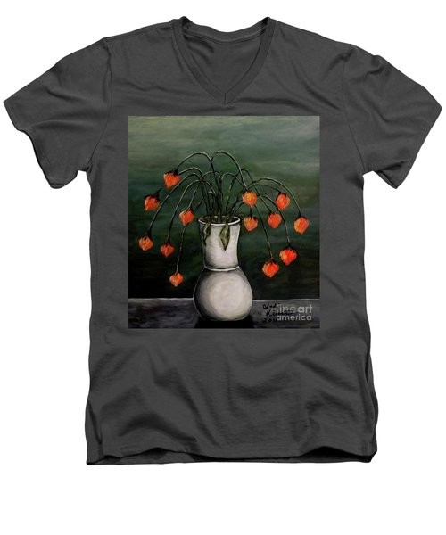 Crazy Red Flowers Men's V-Neck T-Shirt