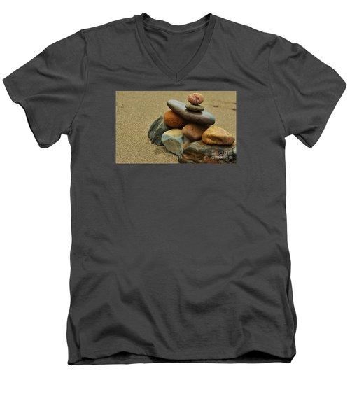 Creating Balance Men's V-Neck T-Shirt by Pamela Blizzard